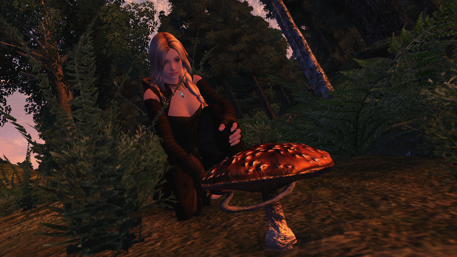 Elli picking a mushroom