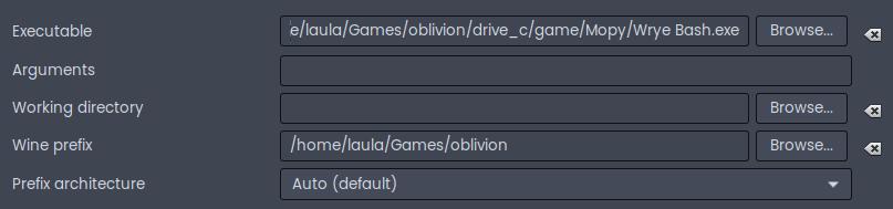 Lutris settings to launch Wrye Bash