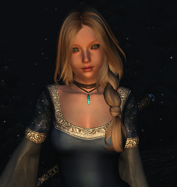 Elli, assets of ModifiedFFRace loaded over the vanilla Breton, with custom eyes and wigs.