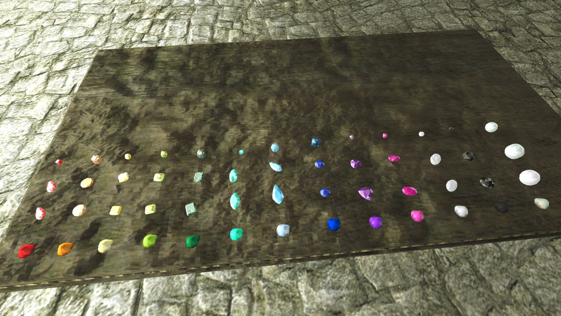 Display of all new gems and vanilla gems, as well as the corresponding dust