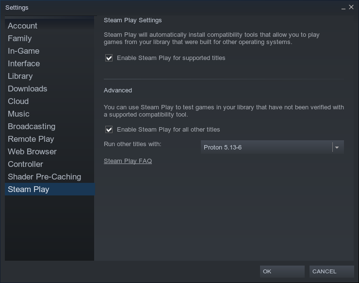 Enable Steam play for all titles